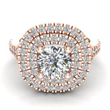 Cushion Halo Diamond Engagement Ring 1.66 Carat Total Weight Y Style Setting 14K Gold (I,I1) - Rose Gold