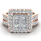 Princess Cut Wedding Rings Set for Women 14K Gold Quad Illusion 1.80 ct tw (I, I1) - Rose Gold