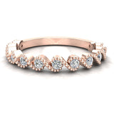 Ocean Waves Ripple Stacking Milgrain Diamond Wedding or Anniversary Band 0.33 ctw 14K Gold (G,I1) - Rose Gold