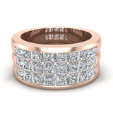 Luminous Princess Halfway Diamond Wedding Band 2.40 ctw 14K Gold (G,I1) - Rose Gold