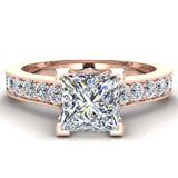 Princess Cut with Accent Diamonds in Cathedral Style Ring 14k Gold (G,SI) - Rose Gold