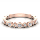 Circles & Squares Stacking Milgrain Diamond Wedding Band 0.32 ctw 14K Solid Gold (G,I1) - Rose Gold