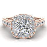 Cushion Halo Filigree Engagement Ring 14K Gold (I,I1) - Rose Gold