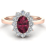 January Birthstone Garnet Oval 14K Gold Diamond Ring 0.80 ct tw - Rose Gold