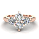 4 Stone Quad Diamond Promise Ring 14K Gold 1.40 ctw (I,I1) - Rose Gold