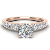 Diamond Engagement Ring with Accent Diamond Shank 18k Gold 0.85 ct (G,VS) - Rose Gold