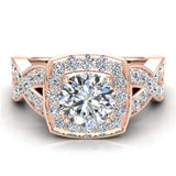 Intertwined Diamond Engagement Ring Cushion Shape 18k Gold 1.27 ct tw (G,VS) - Rose Gold