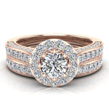 Halo with Accent Diamonds Wedding Ring Set 18K Gold (G,VS) - Rose Gold