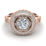 0.98 Carat Vintage Halo Solitaire Wedding Ring 14K Gold (I,I1) - Rose Gold
