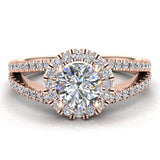 Split Shank Halo Diamond Ring 1.20 ctw Engagement Ring 14k Gold (I,I1) - Rose Gold