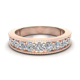 0.87 Carat Diamond Tapering Shank Eternity Band Wedding Ring 18K Gold (G,SI) - Rose Gold