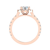 1.81 Carat Total Weight Dual Row Wide Shank Halo Diamond Engagement Ring 14K Gold (G,SI) - Rose Gold