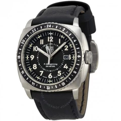 P-38 Lighting Black Dial Black Leather Men's Watch A.9421