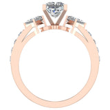 1.40 ct tw Princess Cut Center Diamond Engagement Ring 18K Gold (G,VS) - Rose Gold