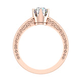 0.75 Carat Vintage Style Filigree Engagement Ring 14K Gold (I,I1) - Rose Gold
