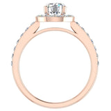 Round Diamond Halo Style Ring in 14K Gold (G,VS) - Rose Gold