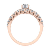 Trellis Round Diamond Wedding Ring Set 2.05 ctw 18K Gold (G,SI) - Rose Gold