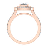 Magnificent Princess Diamond Cushion Halo V Shank Engagement Ring 1.47 ctw 14K Gold (G,I1) - Rose Gold