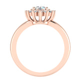Halo Engagement Ring Classic Style Floral Halo Shared Prong Setting 14K Gold 1.05 Carat Total Weight (I,I1) - Rose Gold