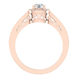 Passionate Cushion Halo Round Diamond Engagement Ring 1.00 ctw 14K Gold (G,I1) - Rose Gold