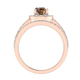 1.38 ct tw Champagne & White Round Diamond Cathedral Style Halo Engagement Ring Set 14K Gold (J,I1) - Rose Gold