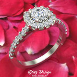 0.75 ct tw Cushion Halo Engagement Ring 14k Gold (G,VS1)