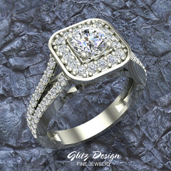 Cushion Halo Split Shank Diamond Engagement Ring 14K Gold 1.10 carat total weight (I,I1)
