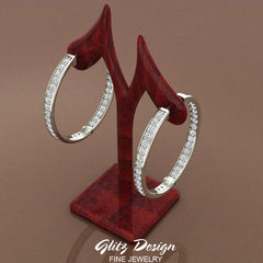 18K Gold Hoop Earrings 33 mm Diamond Line Setting Secure Click-in Lock (G,VS)