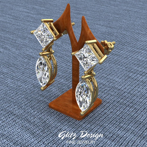 Princess & Marquise Drop Two stone Diamond Dangle Earrings 18K Gold (G,VS)