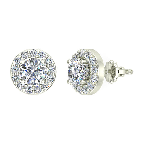 Halo Diamond Stud Earrings 14K White Gold 5mm Round Brilliant Center  (G,SI) - White Gold