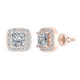 Princess cut Cushion Style Halo Diamond Stud Earrings 18K Gold  (G,VS) - Rose Gold