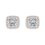 Princess cut Cushion Style Halo Diamond Stud Earrings 14K Gold (I,I1) - Rose Gold