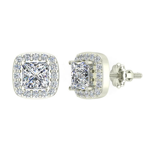 Princess cut Cushion Style Halo Diamond Stud Earrings 14K Gold (I,I1) - White Gold