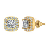 Princess cut Cushion Style Halo Diamond Stud Earrings 14K Gold (I,I1) - Yellow Gold