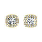 Princess cut Cushion Style Halo Diamond Stud Earrings 18K Gold  (G,VS) - Yellow Gold