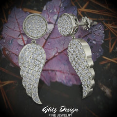 Fashion Statement Diamond Drop Earrings Intriguing Angel Wing 18K Gold (G,VS)