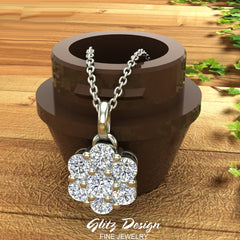 18K Gold Necklace Diamond Cluster Flower Style (G,VS)