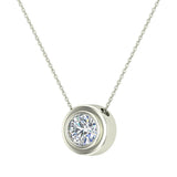14K Gold Necklace Round Diamond Bezel Set Solitaire Chain Slide 5.20 mm (I,I1) - White Gold
