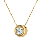 14K Gold Necklace Round Diamond Bezel Set Solitaire Chain Slide 5.20 mm (I,I1) - Yellow Gold