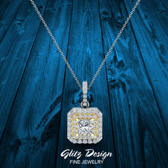 Princess Cut Diamond Cut Cornered Double Halo 2 tone Necklace 14K Gold (I,I1)
