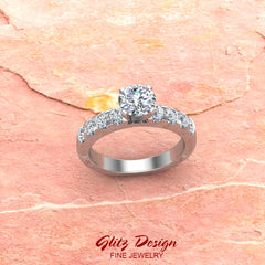 Engagement Rings for Women - Round Brilliant Diamond 14K Gold  0.50 ct GIA Certificate