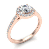 Round Brilliant Cut Diamond Halo Engagement Ring 1.15 carat total 14K Gold (G,SI) - Rose Gold