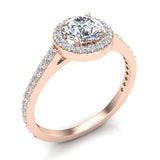 1.48 Carat Round Brilliant Diamond Dainty Halo Engagement Ring 14K Gold (G,SI) - Rose Gold