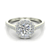 1.48 Carat Round Brilliant Diamond Dainty Halo Engagement Ring 14K Gold (G,SI) - White Gold