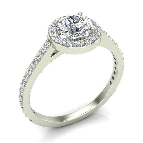 Round Brilliant Cut Diamond Halo Engagement Ring 1.15 carat total 14K Gold (G,SI) - White Gold