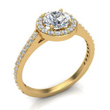 Round Brilliant Cut Diamond Halo Engagement Ring 1.15 carat total 14K Gold (G,SI) - Yellow Gold
