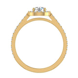 1.48 Carat Round Brilliant Diamond Dainty Halo Engagement Ring 14K Gold (G,SI) - Yellow Gold