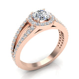 Round Brilliant Split Shank Halo Engagement Ring 14K Gold (I,I1) - Rose Gold