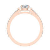 Round Brilliant Split Shank Halo Engagement Ring 14K Gold (G,SI) - Rose Gold