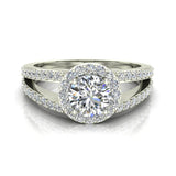 1.75 Carat Round Brilliant Split Shank Halo Engagement Ring 14K Gold (G,SI) - White Gold